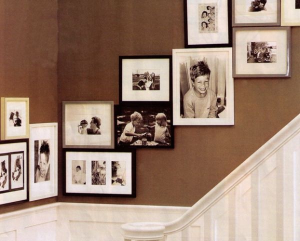 photowall up the stairs