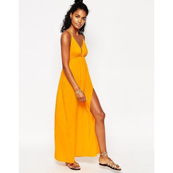 ASOS Deep Plunge Maxi Beach Dress featuring polyvore, fashion, clothing, dresses, saffron yellow, rayon maxi dress, strappy maxi dress, tall maxi dresses, beach dress and open back maxi dress