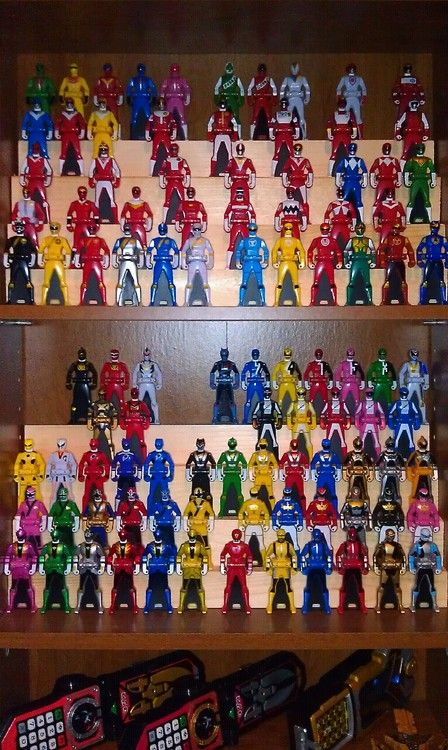 Someone's Great Collection of Power Ranger Action Figures awesome how did you buy all of the super sentai keys