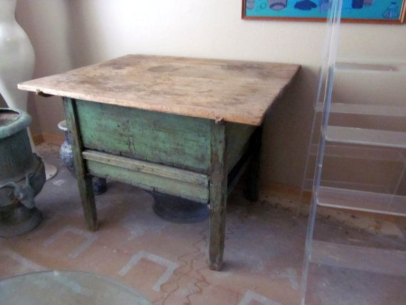 antique vintage primitive farmhouse dough table by welovelucite, $875.00