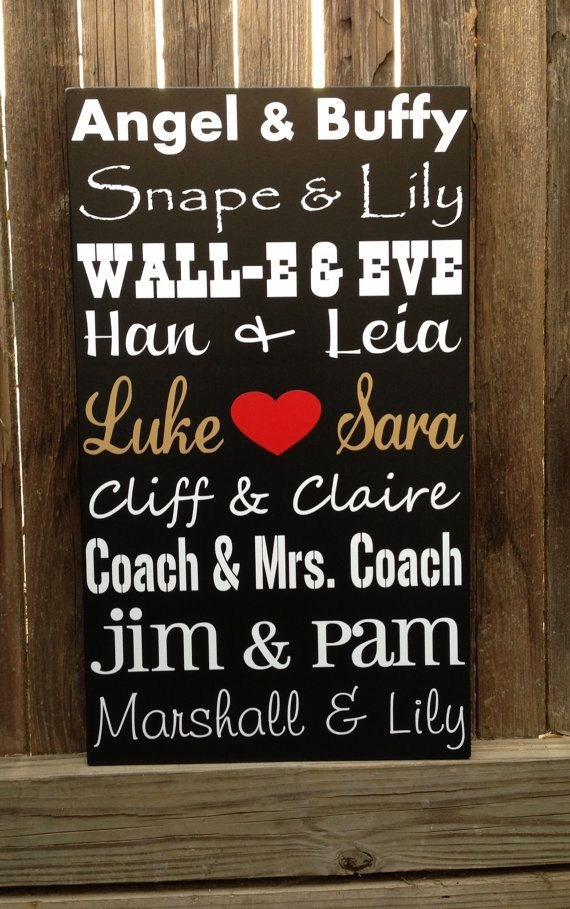 Famous Couples Wood Subway Sign 5 Five Year Anniversary Gift 12x20 Wedding