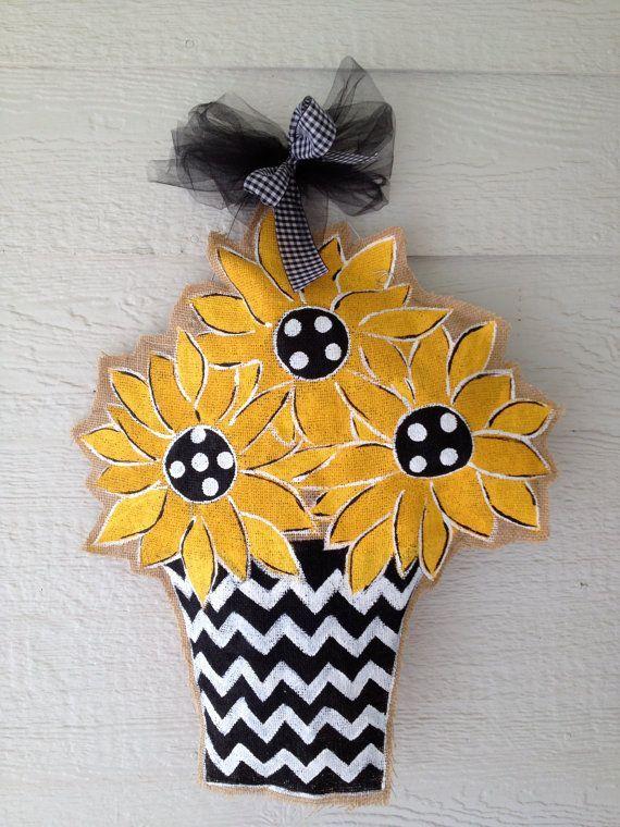 Sunflower Burlap Door Hanger By Snickledoodles Burlap