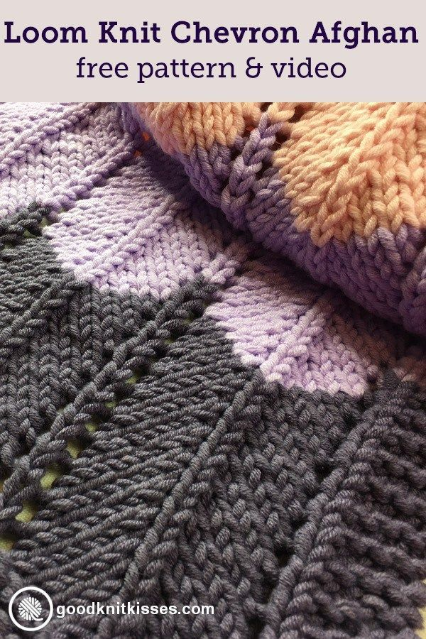 Ripple and Ridge loom knit blanket is a simple chevron pattern you ...