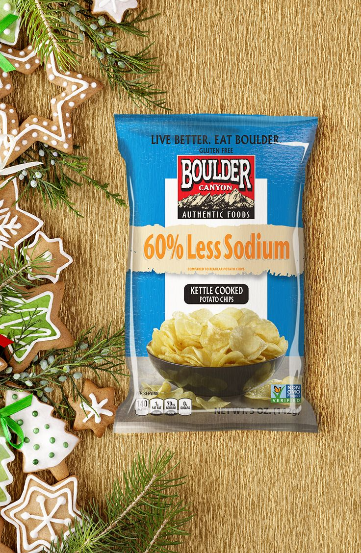 Indulging around the holidays is inevitable - luckily, Boulder Canyon has snacking options with no cholesterol, no trans fat, and 60% less sodium than regular potato chips!