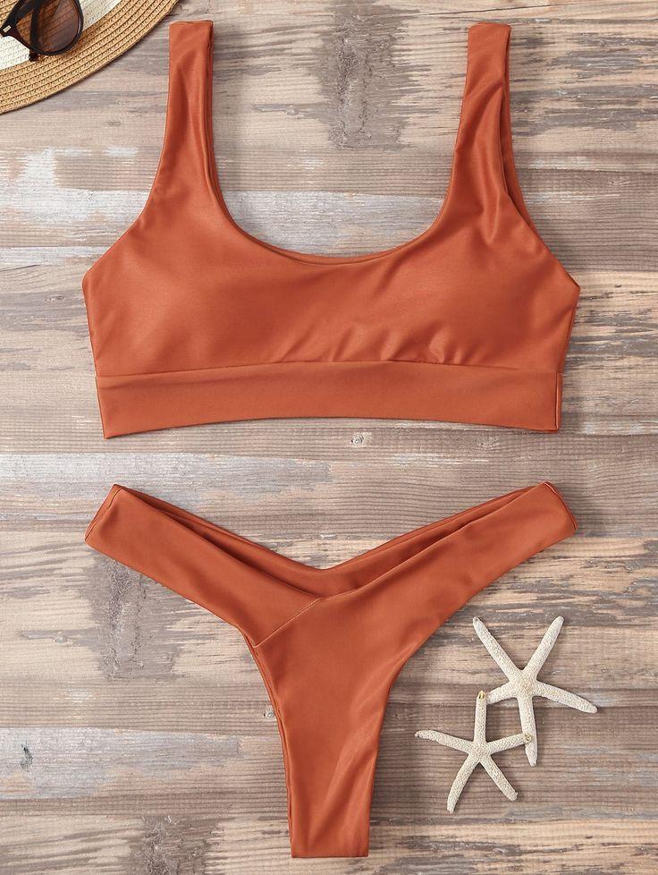 Bikinis | ORANGE RED Sport High Cut Bikini - Gamiss Mobile