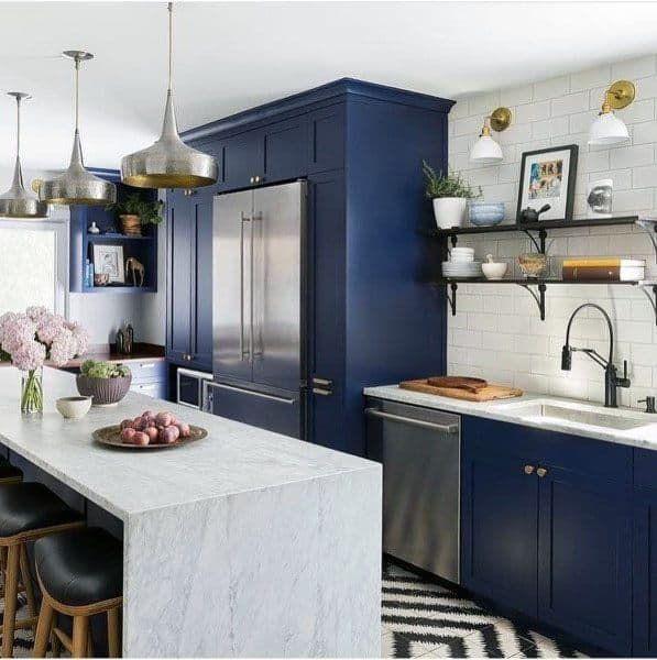 Top 70 Best Kitchen Cabinet Ideas Unique Cabinetry Designs In 2020 Blue Kitchen Cabinets Blue Kitchen Decor Custom Kitchen Cabinets