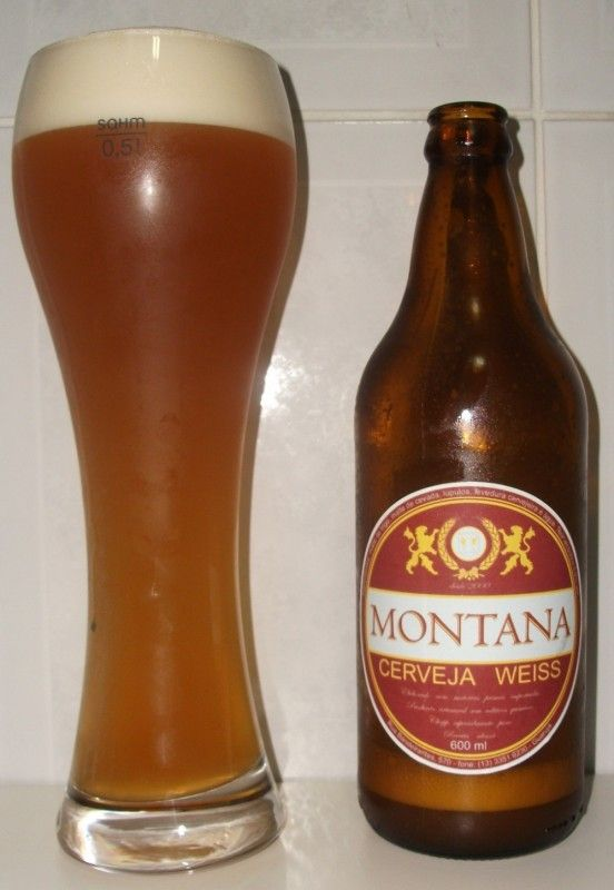Cerveja Montana Weiss, estilo German Weizen, produzida por Cervejaria Montana, Brasil. 5% ABV de álcool.