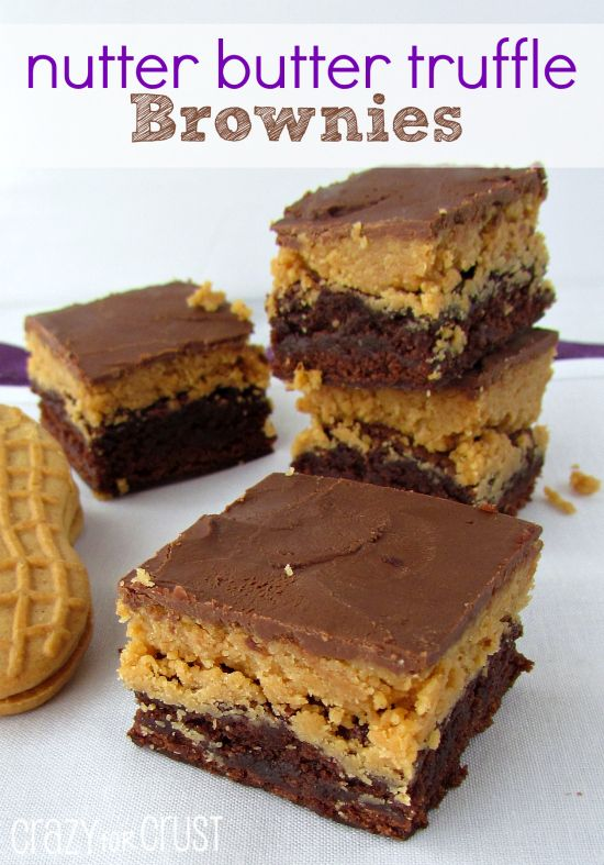 Nutter Butter Truffle Brownies | crazyforcrust.com | #brownie #nutterbutters