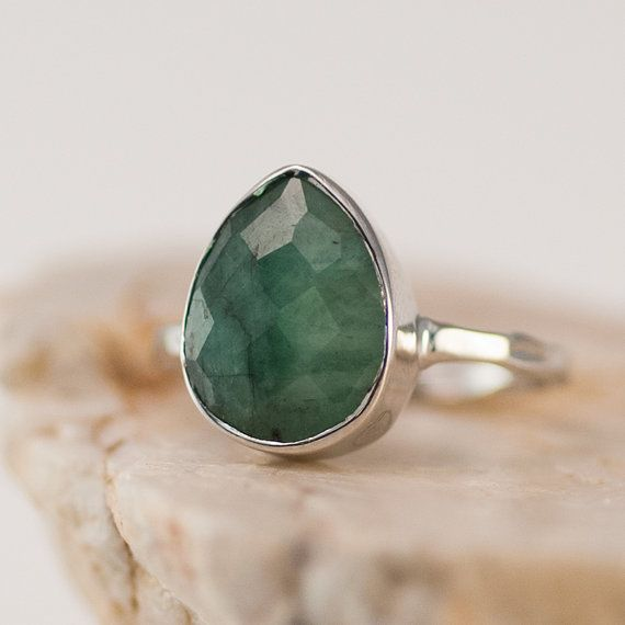 Pre-Holiday SALE- Raw Emerald Ring - Gemstone Ring - Silver Ring - Bezel Ring - May Birthstone Ring -Teardrop Ring on Etsy, $59.40