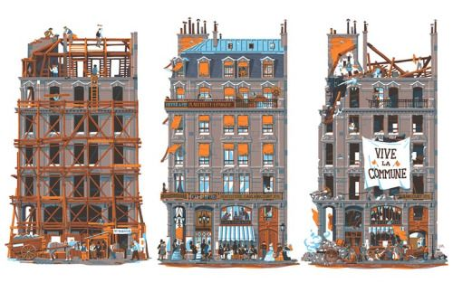 750 Years in Paris is een reeks illustraties van Vincent Mahé die de geschiedenis van Parijs vertelt door de evolutie van de architectuur. De Franse illustrator onthult de hoogtepunten van de stad tussen 1265 en 2015 van de verschrikkelijke zwarte pest tot de aanval tegen Charlie Hebdo e nvan La Bastille tot mei 68. Het boek 750 Years in Paris is te verkrijgen via Nobrow .