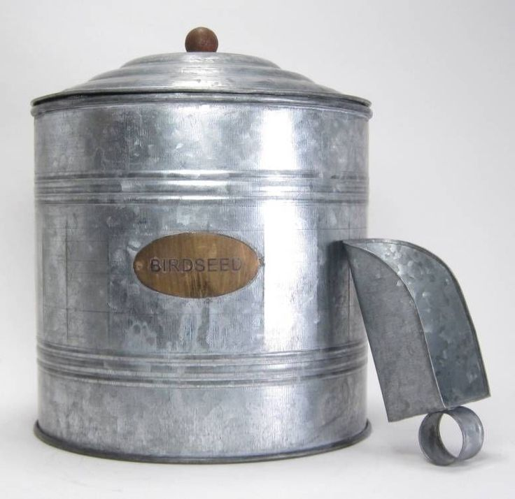 Galvanized Bird Seed Storage Container With Seed Scoop