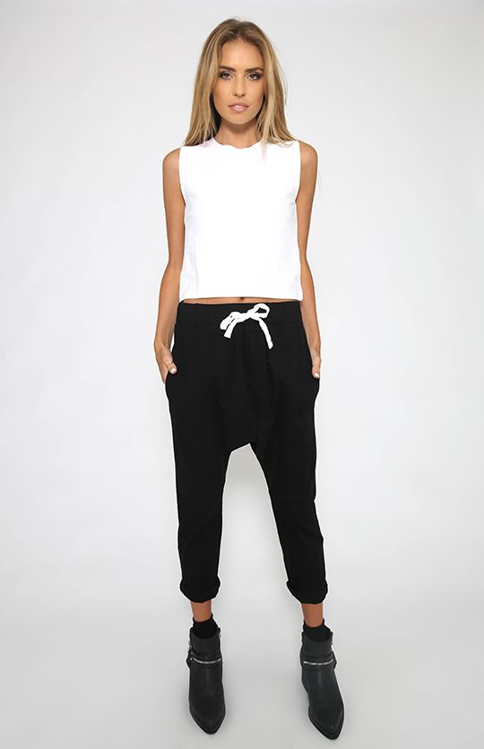 Nude Lucy - Husky Cotton Drop Crotch Pant - Washed Black from Peppermayo.com