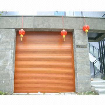 Wood Imitation Roll Up Garage Door, Made Of Aluminum
