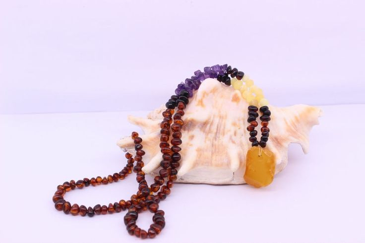 Amber Bead Necklace, Natural gemstone jewelry, Womens necklace, Natural Amber, Amethyst bead jewelry, Bohemian necklace, Birthday Gift Ideas by SilverEarthJewellery on Etsy