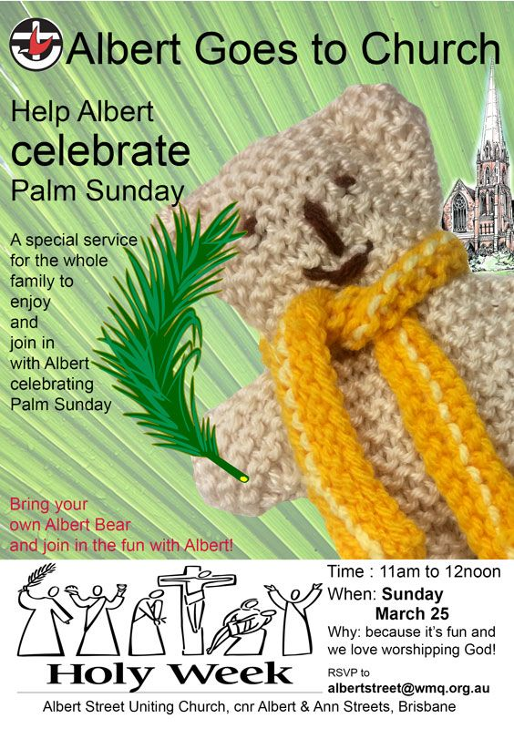Help Albert find out all about Palm Sunday at our special families service at 11am on Sunday March 25, 2018. Lots of fun and games as we worship God.