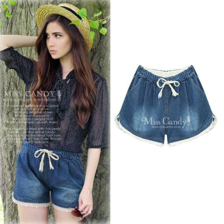 Summer 2016 Denim Lace Shorts Slim Fit pantalones cortos mujer Shorts Plus Size…