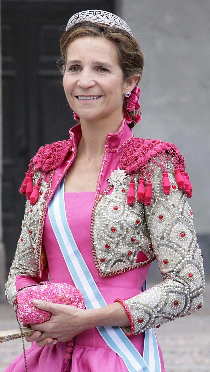 Her Royal Highness Infanta Elena of Spain, Duchess of Lugo.  Infanta Elena María Isabel Dominica de Silos de Borbón y de Grecia, born 20 December 1963, is the elder daughter of King Juan Carlos and Queen Sofía of Spain.