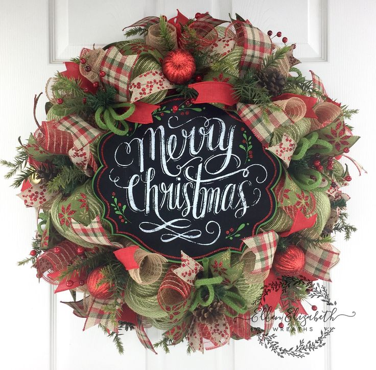Merry Christmas Wreath Rustic Christmas Wreaths Traditional