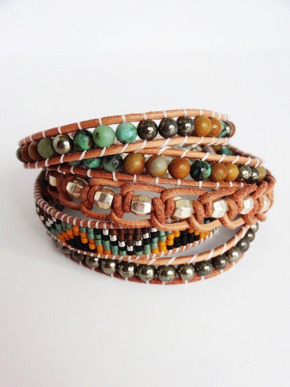 Cuff Bracelet  leather strap. hippie jewelry  Bohemian by NanaBoho