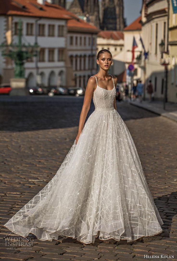 helena kolan 2019 bridal spaghetti strap scoop neckline full embellishment roman…