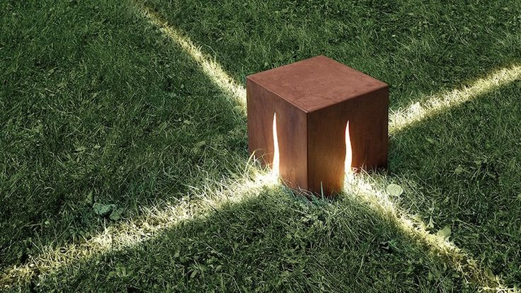 éclairage jardin en forme de cube lumineux en acier corten à poser au sol- GRANITO