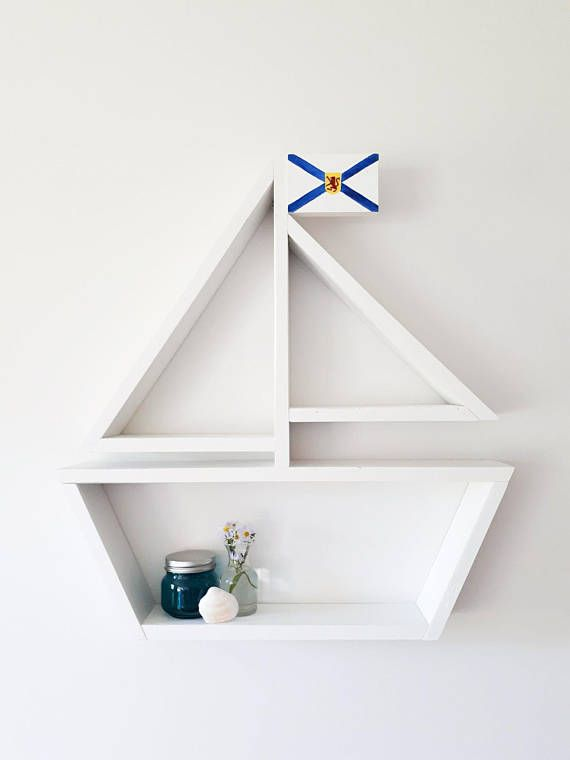 Custom Flag Sailboat Shelf Nautical Decor Wooden Shelf Kids