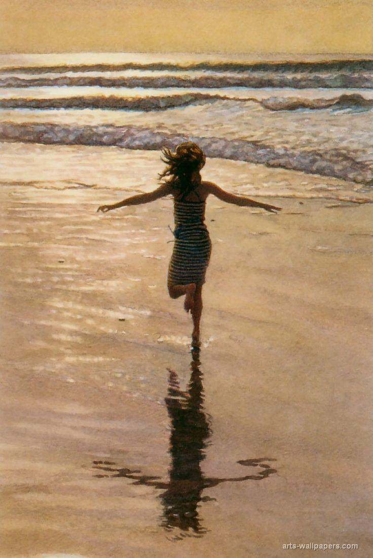Para esta niña no hay diferencia entre la noche y la mañana, entre la alegría de dormir y la alegría de correr con los pies en la arena y el mar.