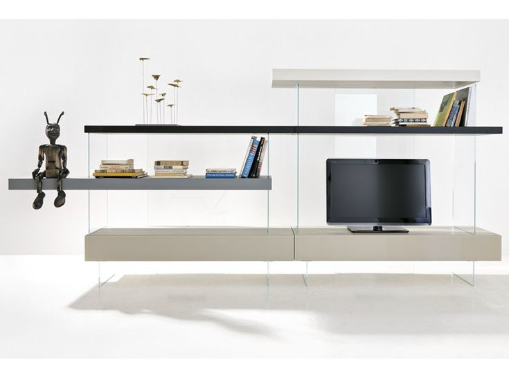 Freestanding divider wood and glass storage wall AIR | Storage wall - Lago