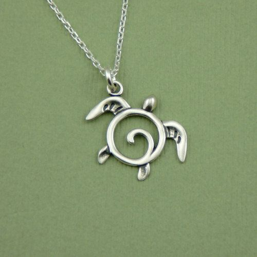 Silver Sea Turtle Necklace ,... from TheZenMuse on Wanelo