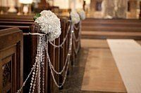 Church wedding Decor, pick up strings of beads after christmas sales...or right AT christmas if cheap..and can find enough