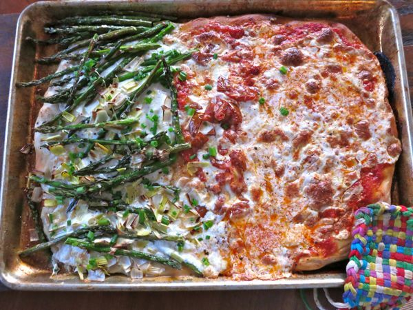 spring pizza with asparagus