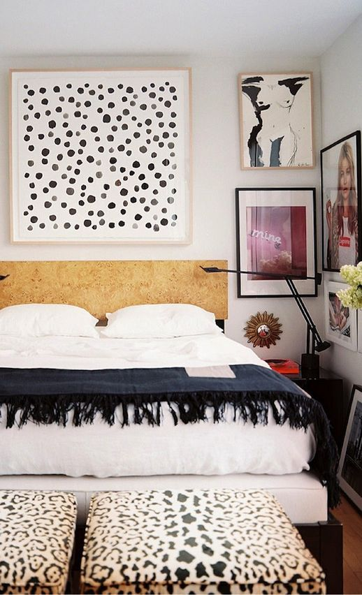 LE FASHION BLOG CHIC NEW YORK CITY BEDROOM LONNY MAGAZINE MICHELLE ADAMS FRAMED ART WALL PAINT DOT ART PRINT BLACK MINIMAL SWING ARM LAMPS L...