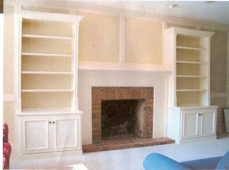 built in fire place shelves | Built in wall unit with base cabinets and shelves with fireplace ...