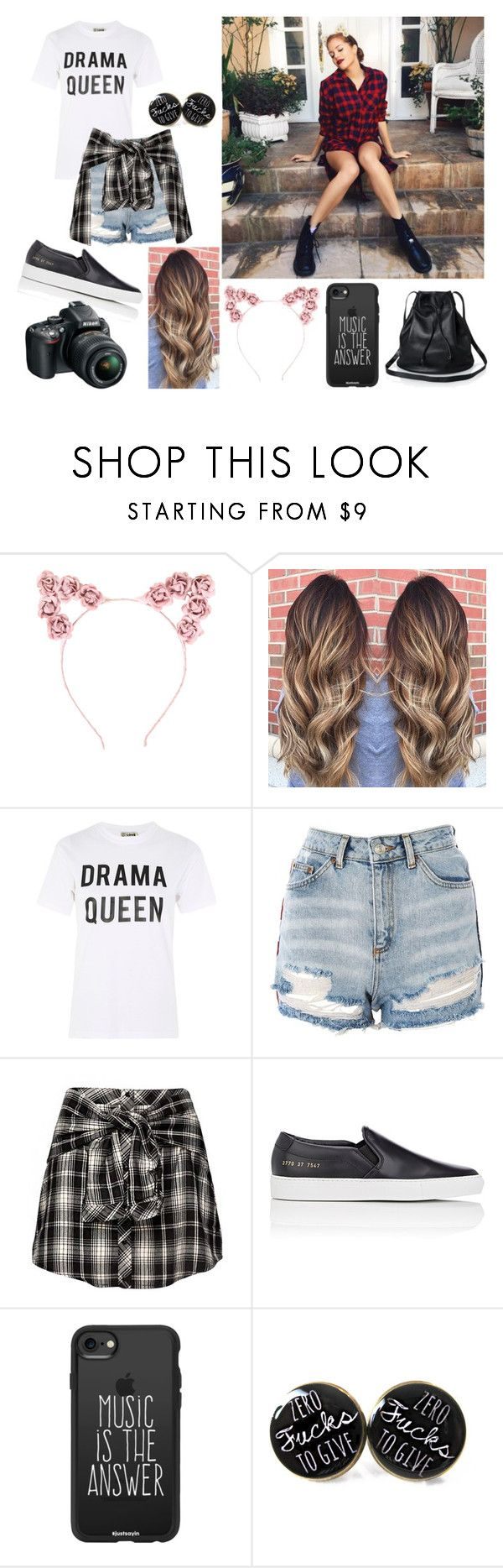 """Mahogany Lox"" by sorrynoturbabe ❤ liked on Polyvore featuring Hot Topic, Love, Topshop, Common Projects, Casetify and Nikon"