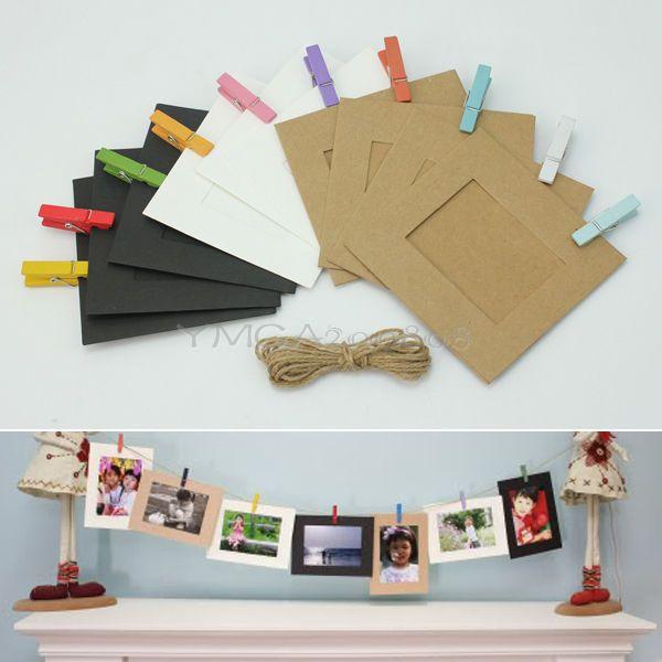 10 x marcos de foto de cart n colgante con clips cuerda - Decoracion con cuerdas ...