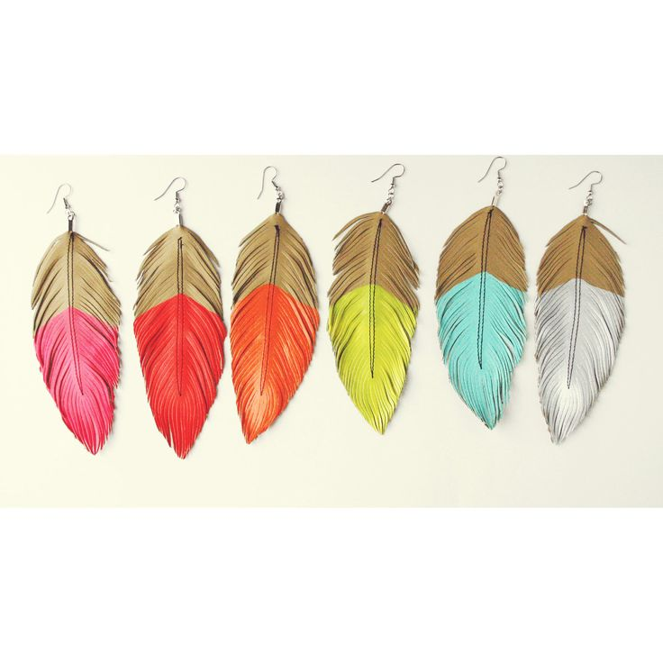 Neon Mohave - Faux Leather Feather Earrings - Surgical Steel-  up to 5 in. $22.00, via Etsy.