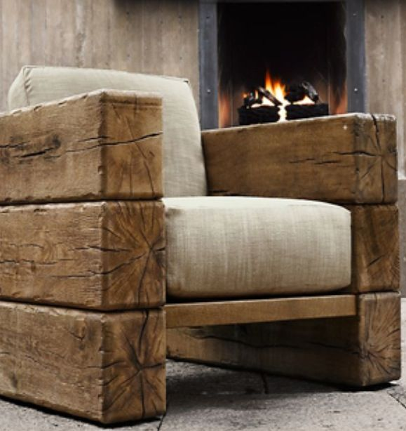 Rustic wood chair.