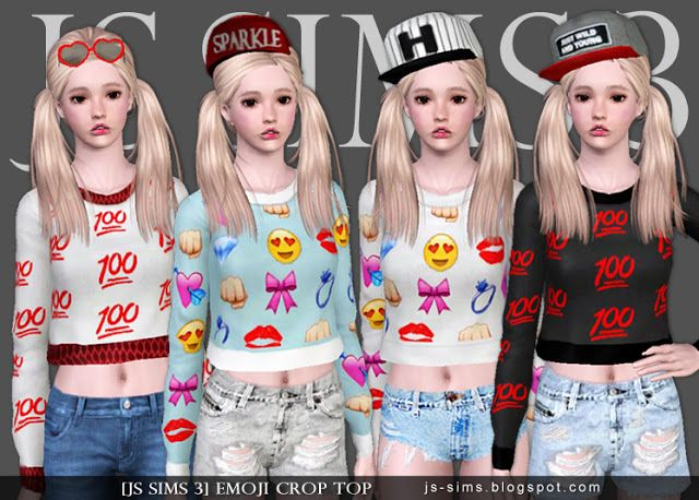 Emoji Crop Top At Js Sims 4 Sims 4 Updates The Sims 4 Stuff