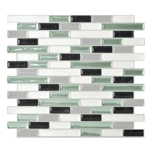 Mosaik Self Adhesive Wall Tile in White And Soft Green (Set of 24)