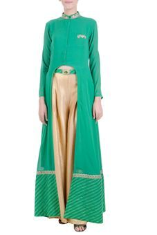 Emerald Green And Gold Jacket And Palazzo Set by SA Gracia, Kurtas & kurtis #Ethnic #Diwali #Festive #indian #embroidered #modern #indowestern #slit #frontslit #green #gold #pretty