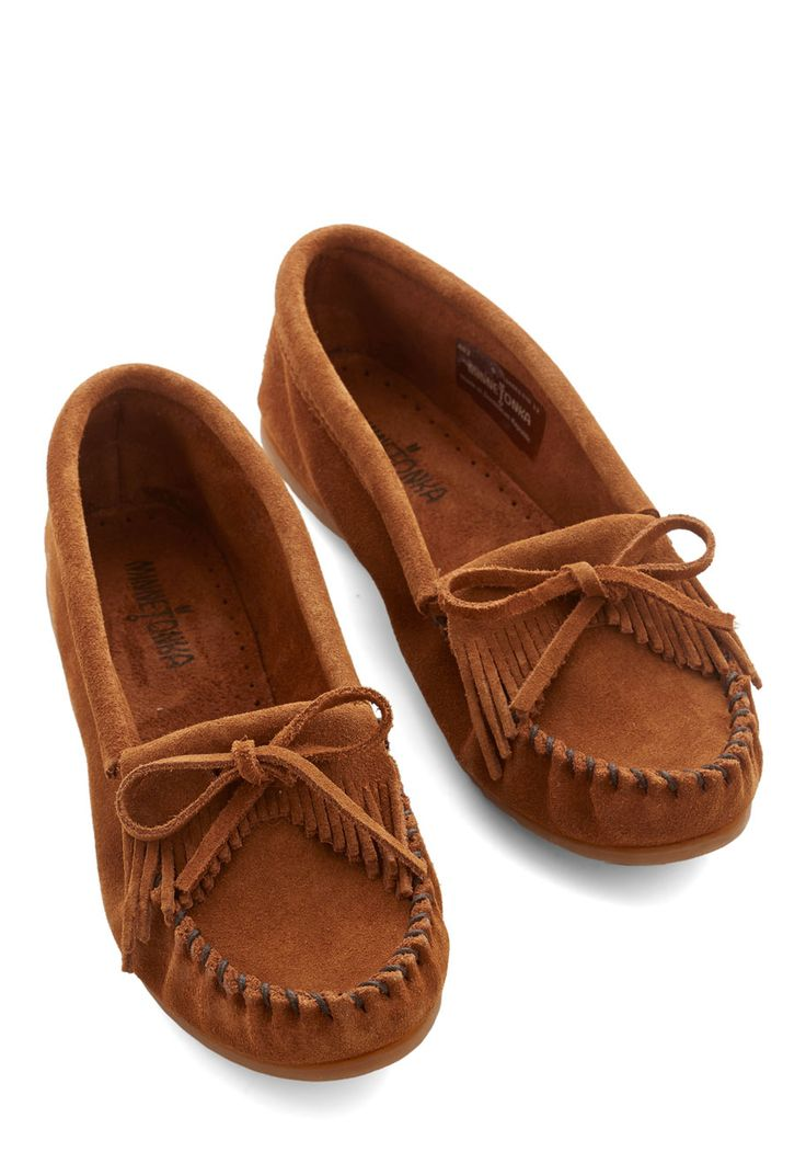 Minnetonka Fundamental Footwork Flat in Chestnut. You cant go wrong when you slip into these classic moccasin flats! #brown #modcloth