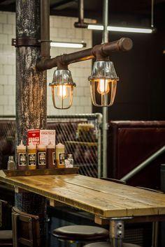 Red's True Barbecue Ιn Τhe Ηeart Οf Manchester's Albert Square   Yatzer #interior #industrial #lights