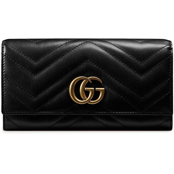 Gucci GG Marmont continental wallet ($600) ❤ liked on Polyvore featuring bags, wallets, wallet, black, 100 leather wallet, chevron bags, snap wallet, continental wallets and real leather wallets