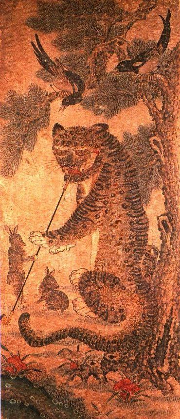 Korean tiger smoking pipe and magpies