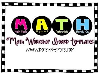 Here's a set of MATH workshop templates. Includes board headers, rotation cards, lesson plan template, and more!