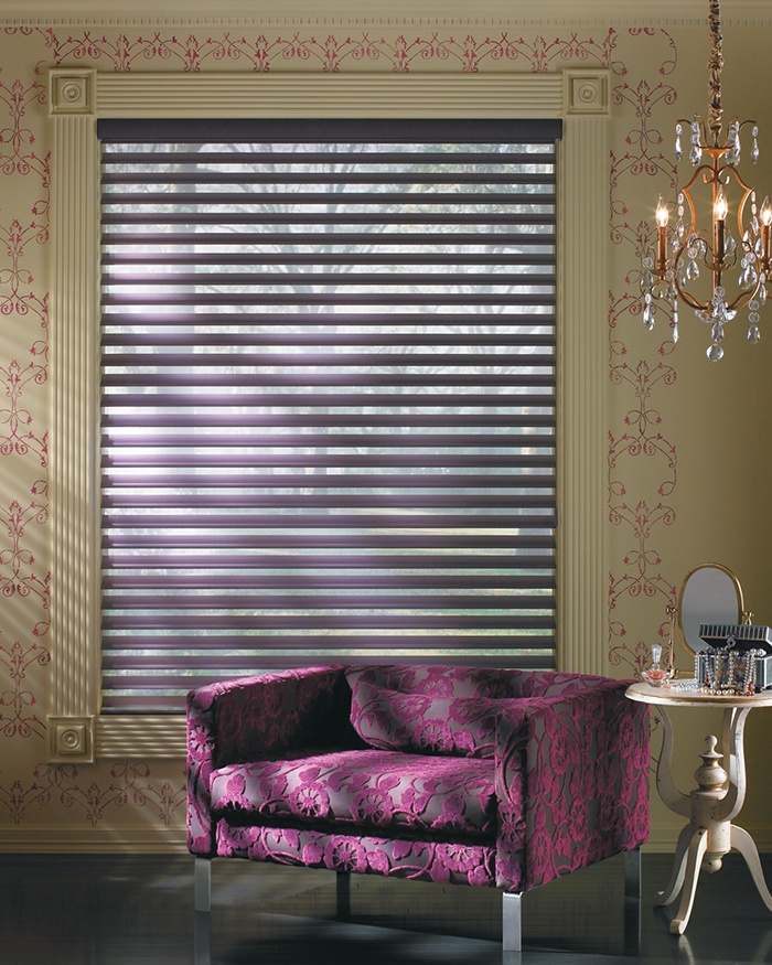 Transform a room with a romantic ambiance and the shimmering violet hues of Silhouette® Window Shadings ♦ Hunter Douglas Window Treatments  #LivingRoom