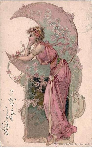 Woman with Moon - 1903 - Postcard - Style: Art Nouveau - @Mlle