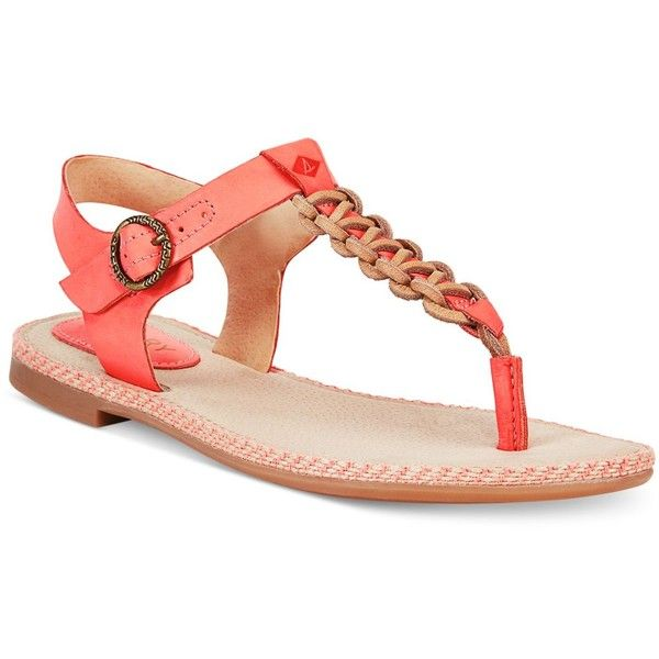 Sperry Rawhide Rope Thong Sandals ($75) ❤ liked on Polyvore featuring shoes, sandals, coral, thong sandals, woven sandals, t-bar sandals, rope sandals and sperry sandals