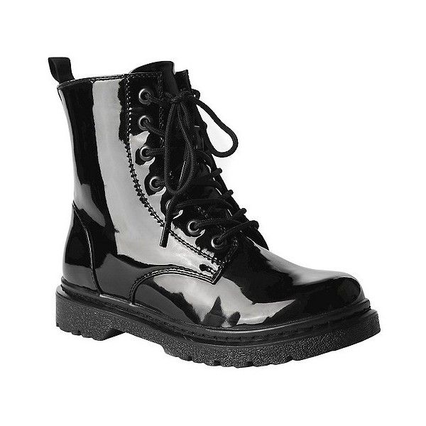Women's Gia-Mia Reignite Patent Combat Boot - Black ($50) ❤ liked on Polyvore featuring shoes, boots, black, military boots, patent boots, black patent shoes, army boots and black patent leather shoes