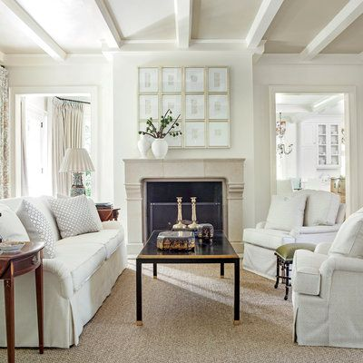 Light Suzanne Kasler Living Room - Southern Living...Benjamin Moore's Linen White on the walls and trim and Bennington Gray on the ceiling)